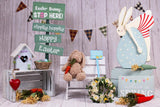 Easter Backdrop With Wooden Wall And Rabbit Toy G-1295