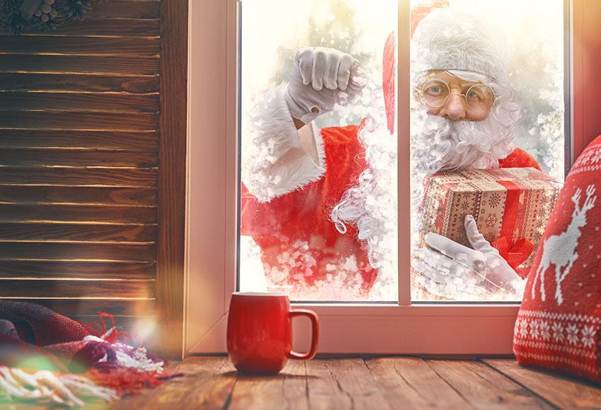 Father Christmas  Out Window Photo Backdrop