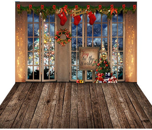 Christmas Window With Wooden Floor Mat Holiday Photography Backdrop  G-1177