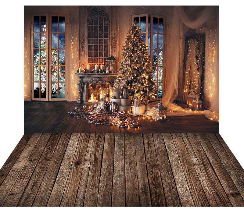 Fireplace Window Christmas tree With Wooden Floor Mat Combo Backdrop G-1178