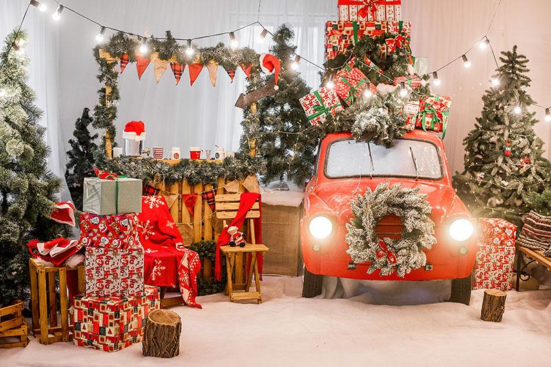 Christmas Gift Red Car For Children Photography Backdrop G-1188