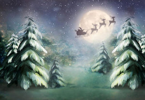 Christmas Pine Tree And Winter Night For Christmas Holiday Backdrop G-1198