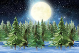 Snow Night Pine Forest For Christmas Backdrop G-1205