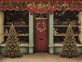 Christmas Decorated Shop For Holiday Photography Backdrop G-1220