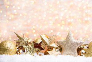 Gold Stars Toys With Snow Christmas Photo Backdrop