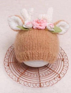 Hand-Knit Antlers Newborn Hats Photography Props