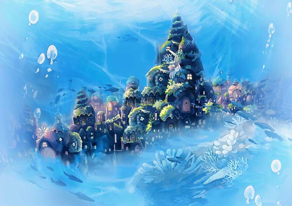 Ink Painting Underwater Castle For Baby Photographt K-0037