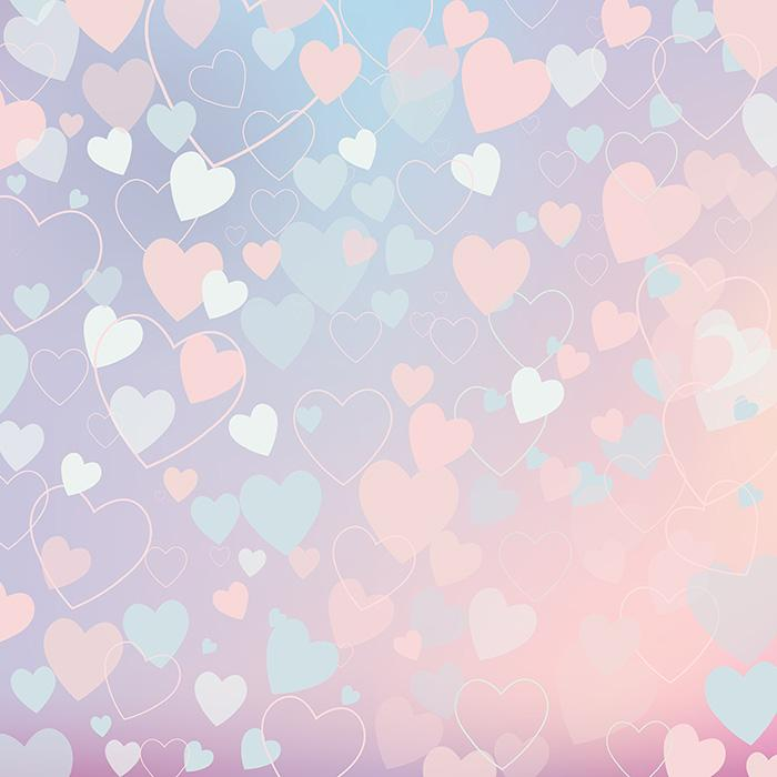 Painted Colorful Hearts For Valentines Day Printed Photography Backdrop J-0418-1