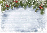 Pine Branches On White Wood For Christmas Backdrop