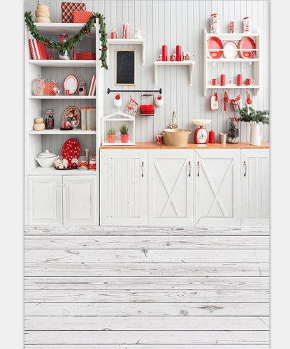 Christmas Kitchen Interior Photography Backdrop