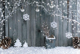 Snowflake With Gray Wooden Photo Backdrop