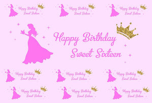 Sweet Sixteen Happy Birthday Photography Background For Princess G-984