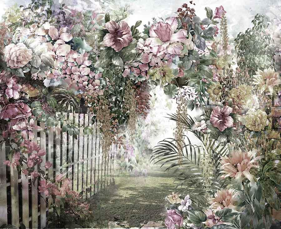 Watercolor Painted Garden Photo Backdrop  J-0408-1