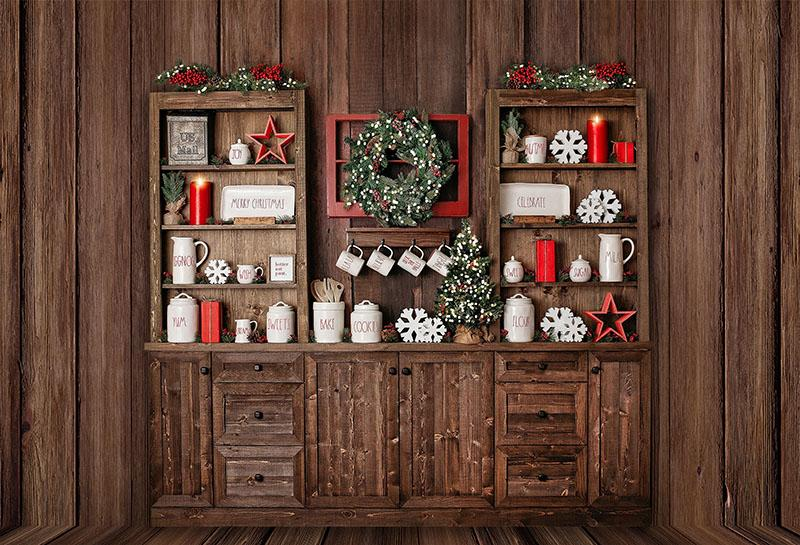 Wood Cupboard Photo Studio Child Cook Christmas Backdrop G-1183