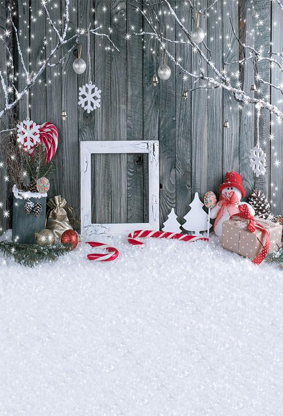 Wooded Wall With Snow Christmas Photo Backdrop