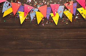 Wooden Floor With Party Flags Photography Backdrop K-0002
