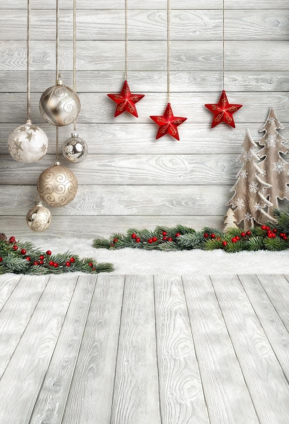 Wooden Floor With Wall Christmas Photo Backdrop