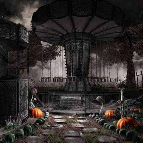 Abandoned Amusement Park For Halloween Photography Backdrop J-0238 - Shop Backdrop