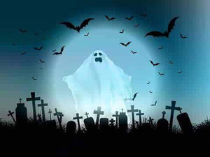Abandoned Cemetery Ghost With Full Moon For Halloween Photography Backdrop J-0240 - Shop Backdrop