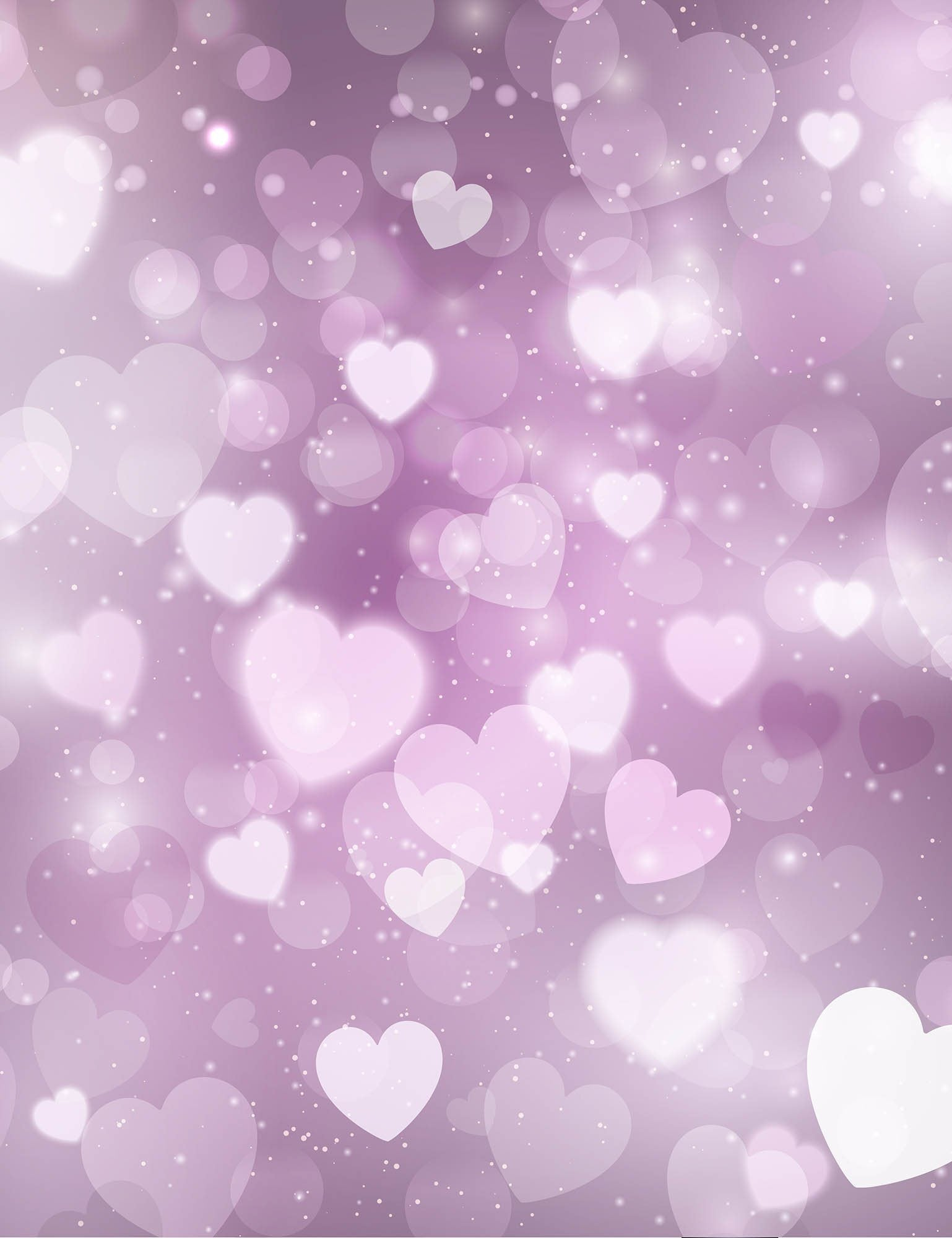 abstract bokeh pink hearts sparkle background for valentines day