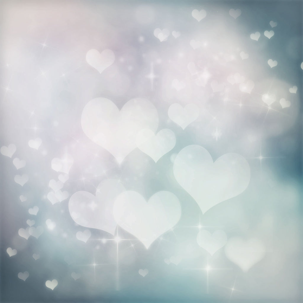 Abstract Bright Silver Love Hearts Bokeh Photography Backdrop - Shop Backdrop