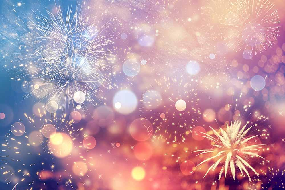 Rainbow Fireworks Celebration Colorful Abstract Image With: Abstract Fireworks For New Year Photography Backdrop J
