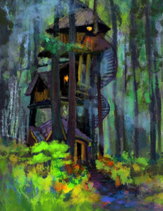 Abstract Oil Painted House In Forest Photography Backdrop J-0708 - Shop Backdrop