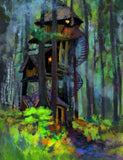 Abstract Oil Painted House In Forest Photography Backdrop J-0708