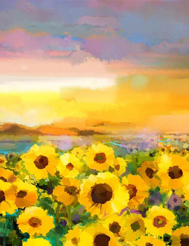 Abstract Oil Painted Sun Flowers Photography Backdrop J-0549 - Shop Backdrop