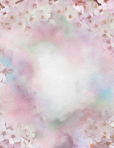 Abstract Oil Painting White Sakura Cherry Blossom Flowers Photography Backdrop  J-0328 - Shop Backdrop