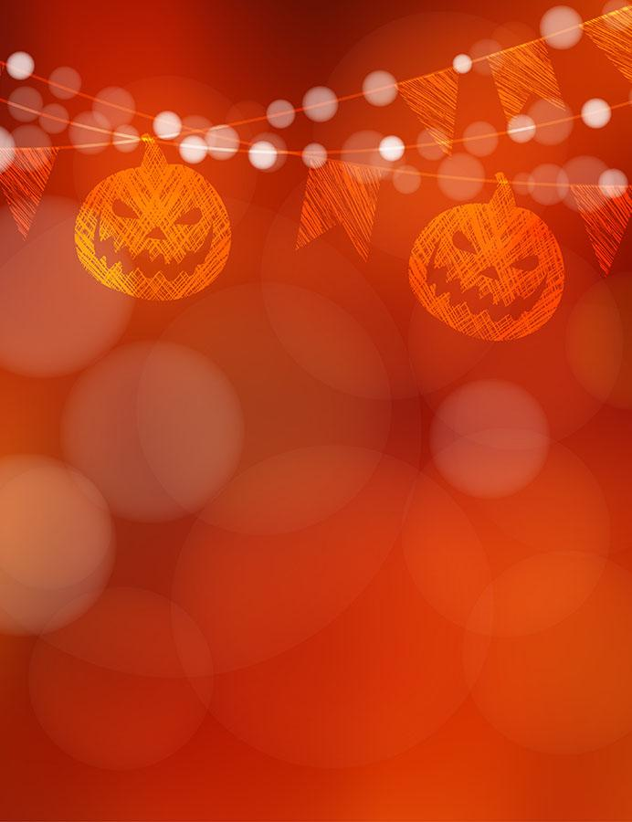 Abstract Orange Red Bokeh Background With Holiday Flags For Halloween Photogrpahy Backdrop J-0529 - Shop Backdrop