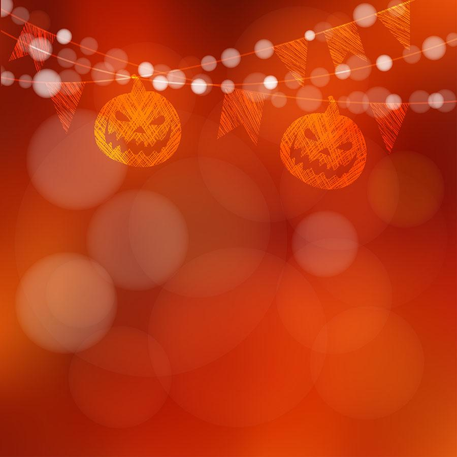 Abstract Orange Red Bokeh Background With Holiday Flags