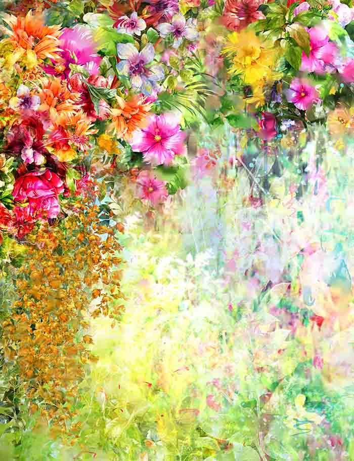 Abstract Painted Spring Flowers Watercolor Photography Backdrop J 0336