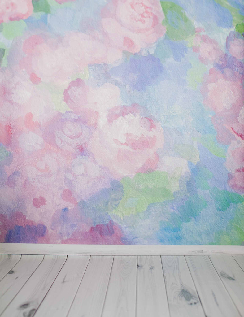 Abstract Pink Rose Printed On Wall With Gray White Floor Backdrop For Baby Photography - Shop Backdrop