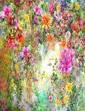 Abstract Watercolors Painted Flower Wall Photography Backdrop J-0340