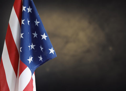 American Flag With Deep Brown Background Wall Backdrop - Shop Backdrop