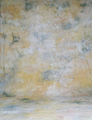 Abstract Yellow And Dark Green Hand Painted Muslin Backdrop For Photo