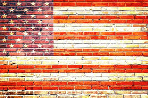 American Flag Printed On Brick Wall Backdrop For Photography - Shop Backdrop