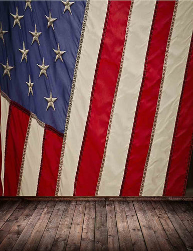 American Flag Wall With Senior Wood Floor Backdrop For Photography - Shop Backdrop