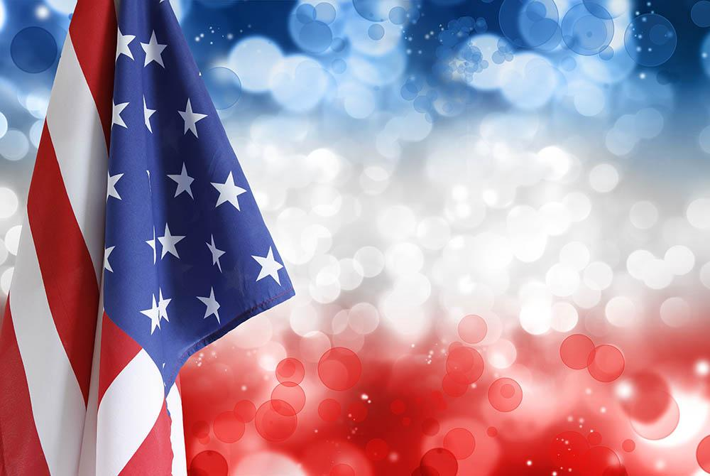 American Flag With Bokeh Background For Celebrate Independence Day  Photography Fabric Backdrop