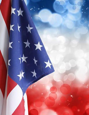 American Flag With Bokeh Background For Celebrate Independence Day Photography Fabric Backdrop - Shop Backdrop