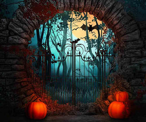Arch Stone Door And Pumpkin For Halloween Photography Backdrop - Shop Backdrop