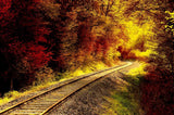 Autumn Froest With Railroad Photography Backdrop J-0449 - Shop Backdrop