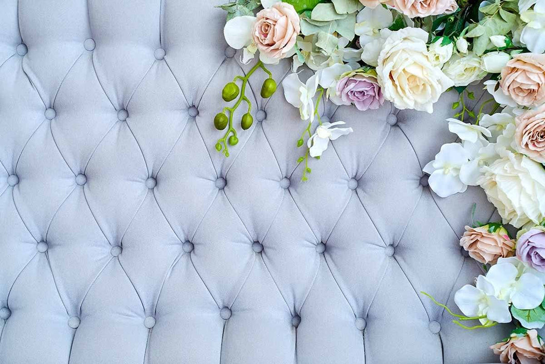 Baby Blue Tufted Buttoned Luxury Pattern With Flowers Photography Backdrop J-0101 - Shop Backdrop