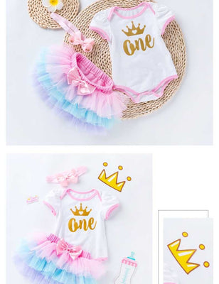 Baby Short Sleeve Romper Mesh Color Skirt Photo Prop Suit For Birthday - Shop Backdrop