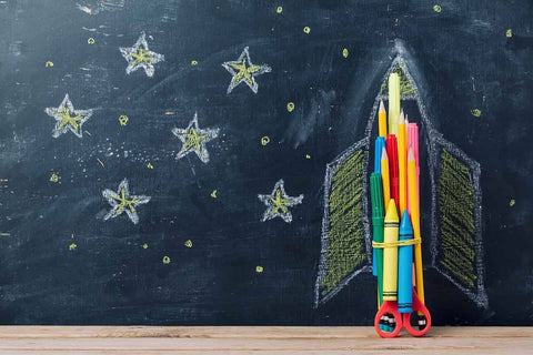 Back to school Concept With Rocket And Starts Chalkboard Photography Backdrop J-0184 - Shop Backdrop