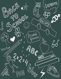 Back To School Doodles On Green Chalkboard Photography Backdrop J-0191