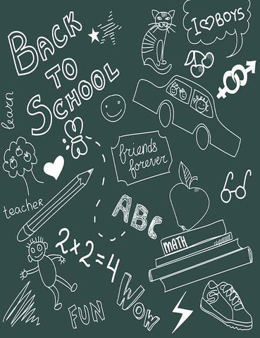 Back To School Doodles On Green Chalkboard Photography Backdrop J-0191 - Shop Backdrop