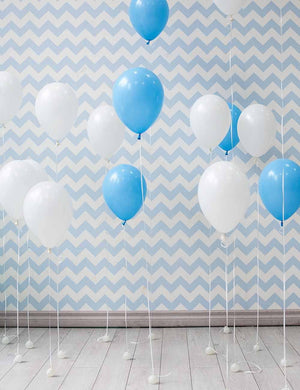Balloons On  Wood Floor With Blue And White Chorven Background Photo - Shop Backdrop