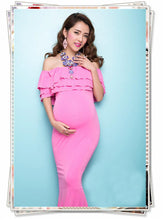 Bare Shoulder Pink Imitated Silk Fabric Maternity Gown Dress Photo Prop - Shop Backdrop